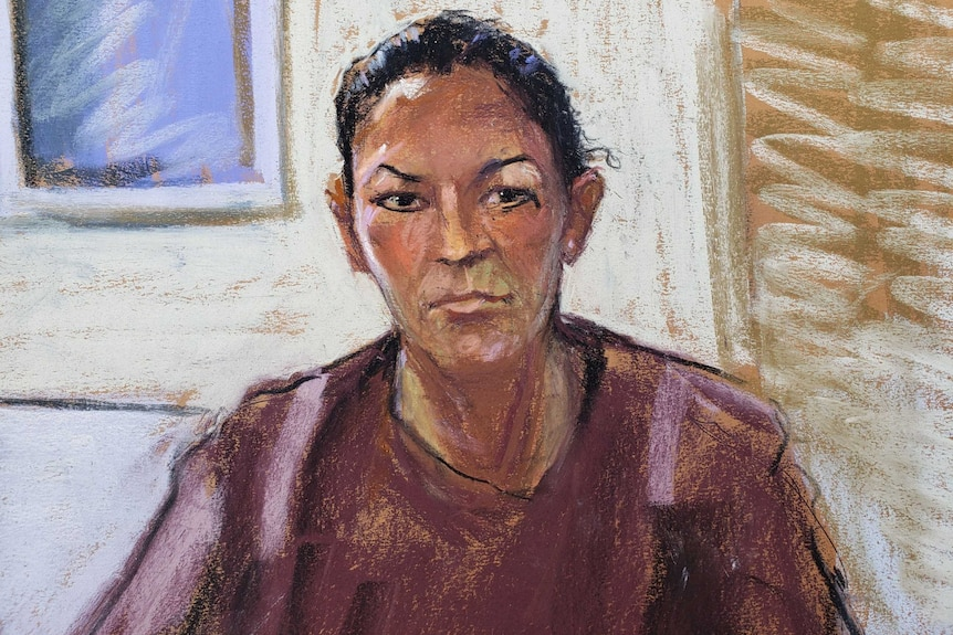A woman with dark hair is depicted in a court sketch