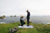 Grant proposes to Hannah on Maatsuyker Island