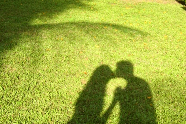 Shadow of couple kissing on green grass backdrop