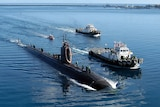 A US nuclear submarine in the water