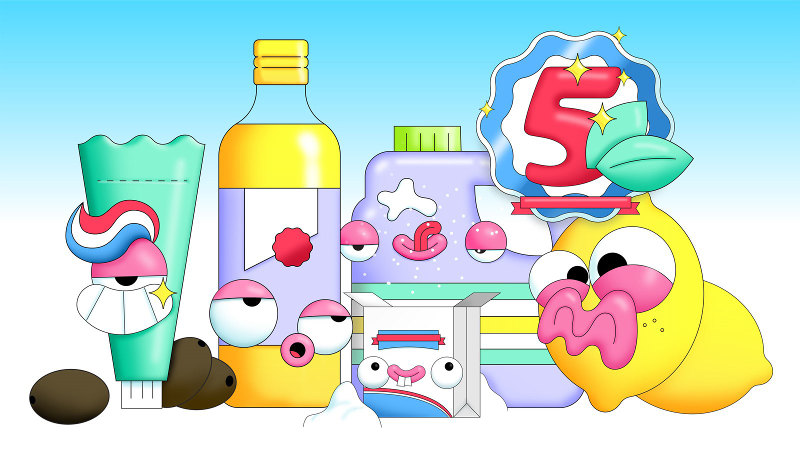 Illustration of toothpaste, oil, bicarb and lemon characters for story about cleaning products found in the pantry