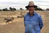 Joe Keynes standing in a field with sheep eating feed behind him.