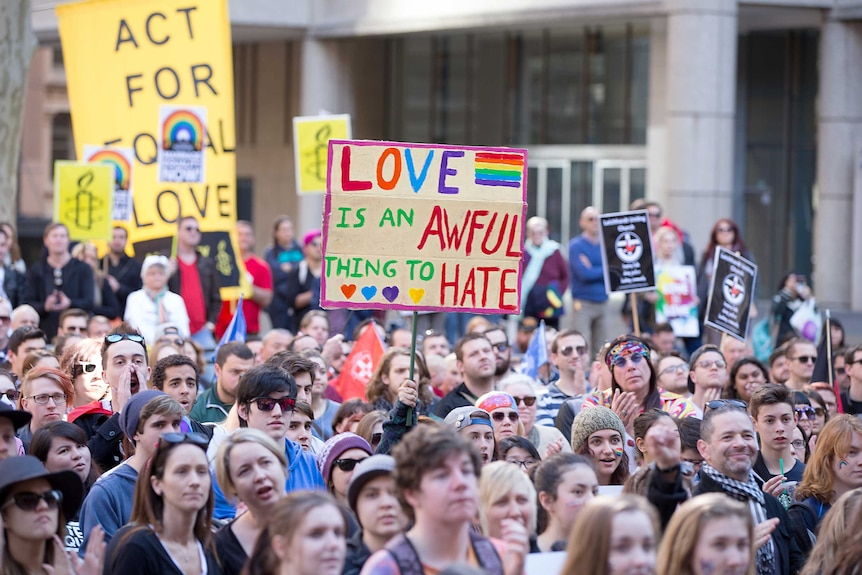 Same sex marriage rally in Sydney, sunday August 9, 2015.