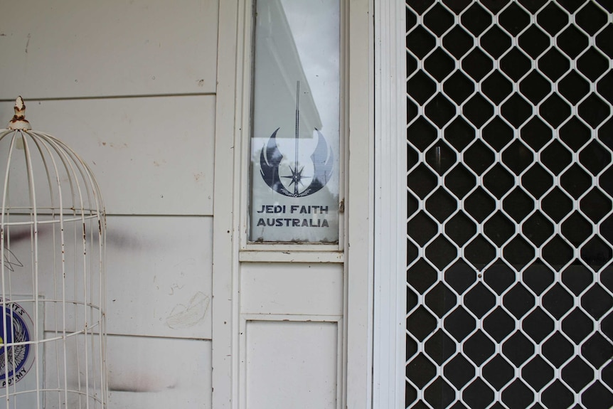 Jedi Faith Australia sign and logo in the window of Peter Lee's house in Lithgow