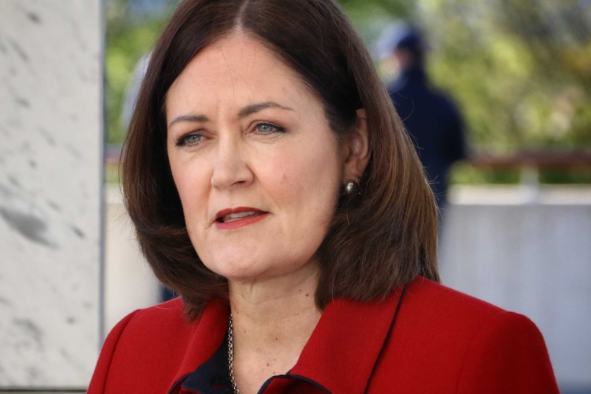 Sarah henderson wears a red blazer and speaks to reporters in Canberra