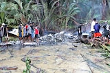 Papua New Guinea villagers examine the wreckage of a Trans Air jet that crashed on Misima Island.