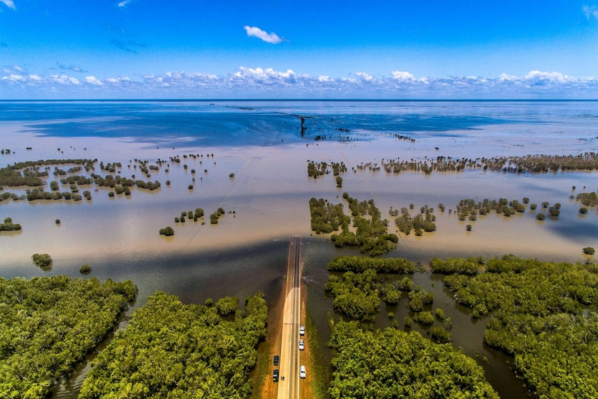 Aerial view of flooded Roebuck plains
