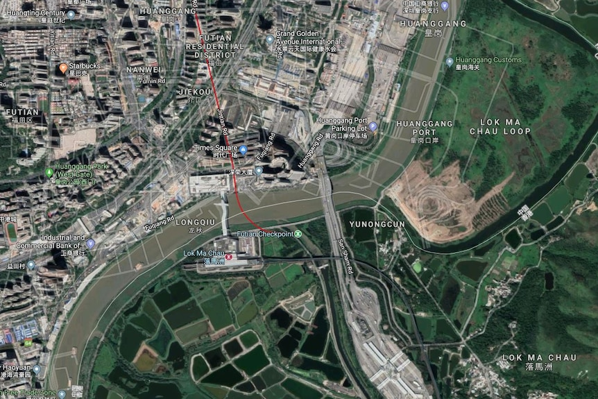 A satellite image shows a windy river with Google street overlays floating on top of it.