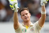 Australia's Steve Smith celebrates after reaching his Test century against West Indies in Jamaica.