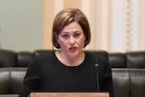 Jackie Trad speaks during proceedings at Parliament House in Brisbane.