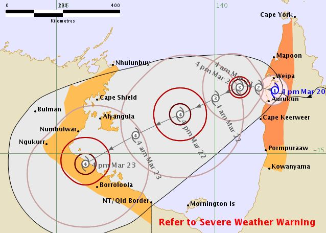 A map showing Cyclone Trevor is forecast to cross into the Gulf of Carpentaria.