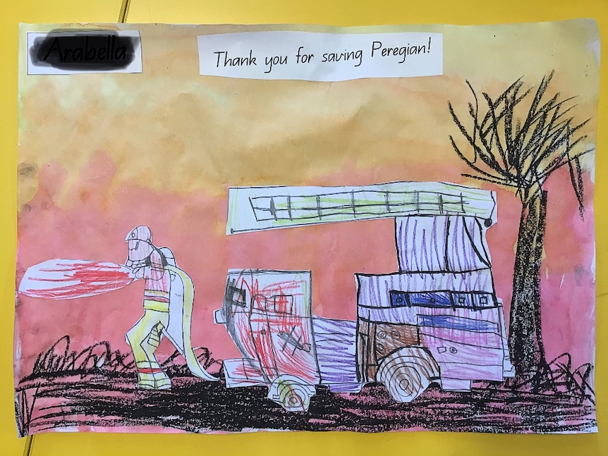 A child's drawing and painting of a firefighter fighting a fire.