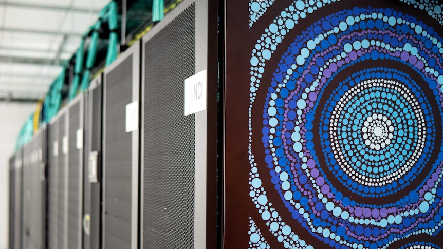 The artwork by Lynnice Church can be seen on the new supercomputer at the NCI.