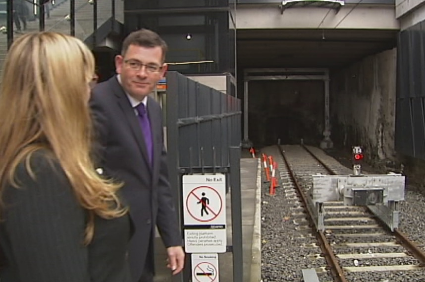 Victorian Opposition Leader Daniel Andrews at South Morang train station announcing an extension to the line to Mernda.