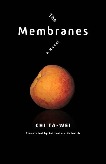A black book cover featuring a peach that is tilted to the side