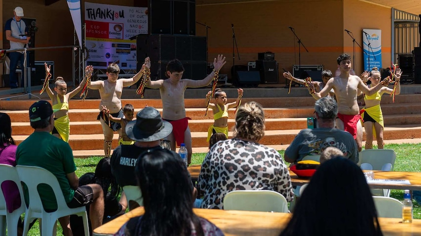 Children performing a dance at a NAIDOC week celebration.