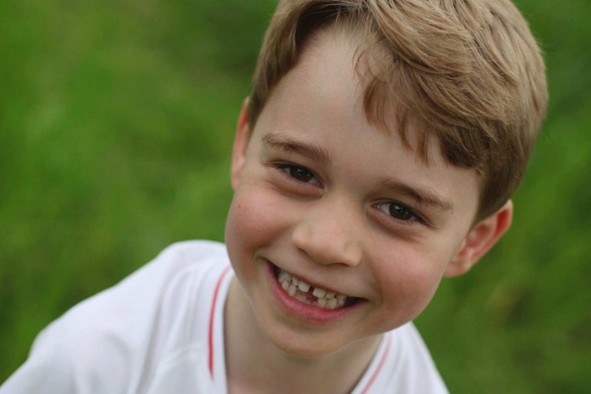 Britain's Prince George poses for a photo taken by his mother, Kate, the Duchess of Cambridge.