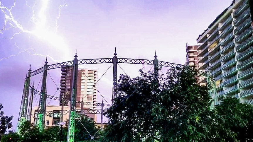 Qld storms gasworks lightning