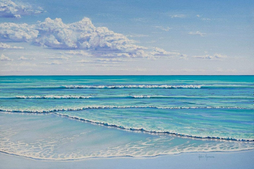 a photo of a pastels drawing of the ocean