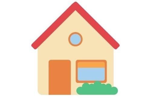 A basic cartoon of a house.