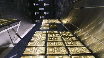 Gold bars on a table