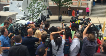 Media scrum outside Bill Cosby trial.
