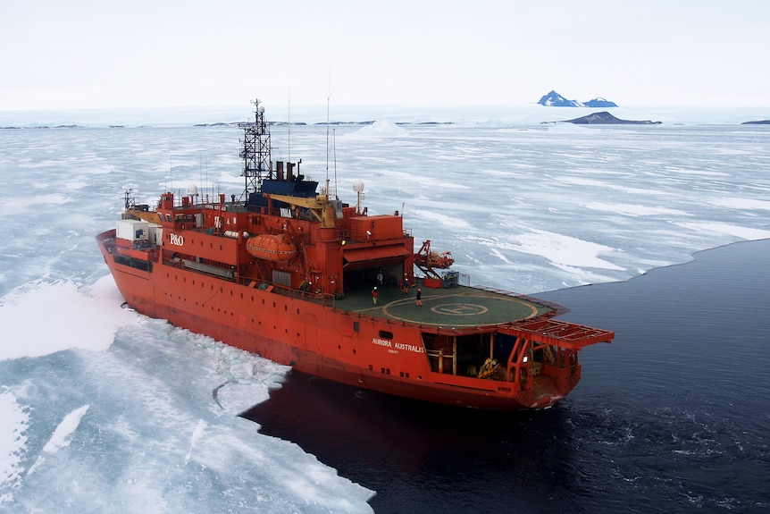 The Aurora Australis entering the fast ice near Mawson in Antarctica - date unknown