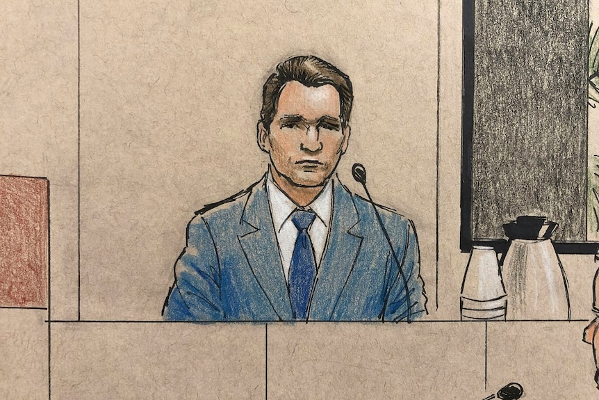 A hand drawn illustration shows a man in a suit sitting behind a microphone in the witness box of a court