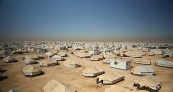 Aerial photo of Zaatari refugee camp in Jordan
