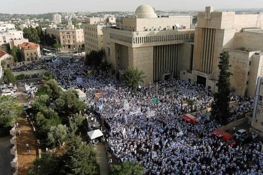 A drone photo shows Israelis gathering for a Jerusalem Day parade.