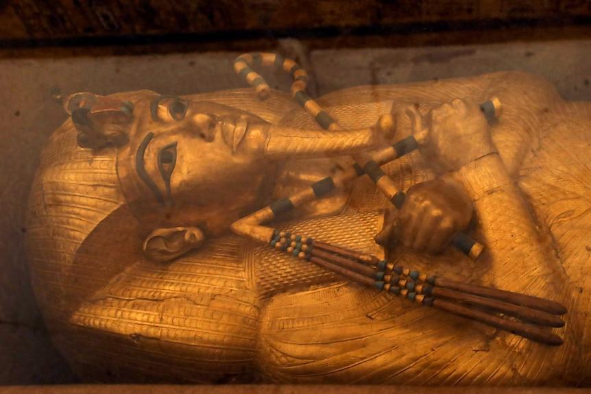A close up of the sarcophagus of King Tutankhamun.
