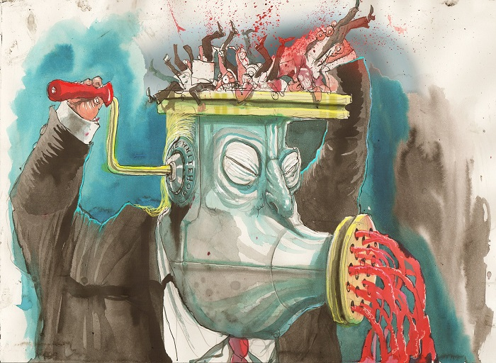 David Rowe cartoon on Donald Trump as a meat grinder.