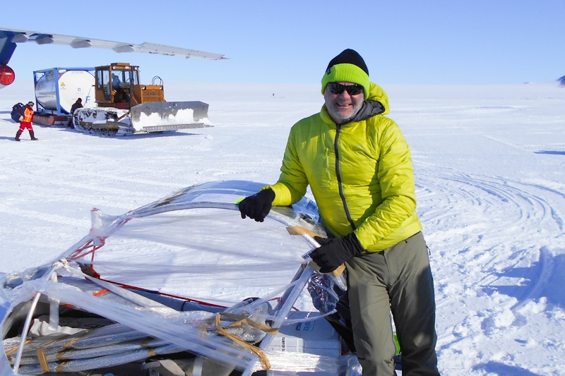 Charles Werb in Antarctica with his snow sailer.