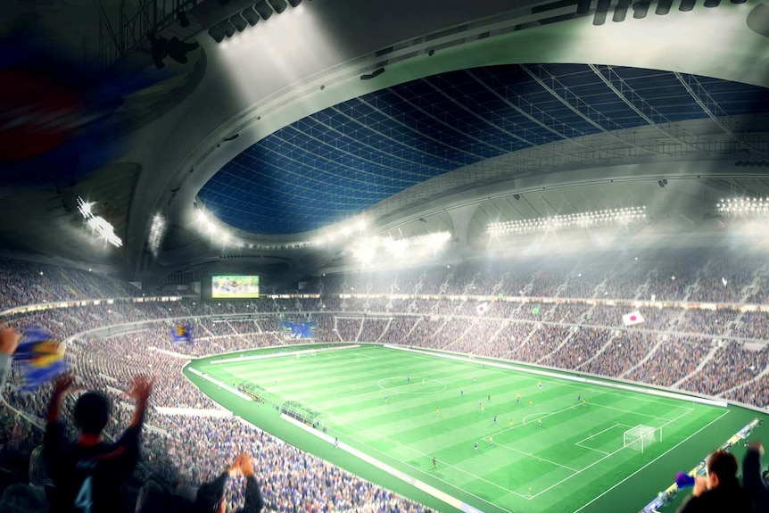 Artist's impression of interior of the new National Stadium for the 2020 Olympic Games in Tokyo.