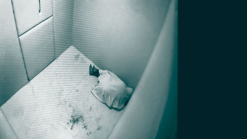 CCTV shows an inmate on the ground wrapped in a blanket in  a cell at Brisbane watch house