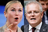 A composite image of Grace Tame and Scott Morrison