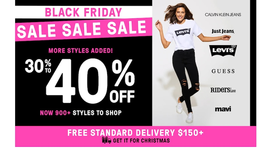 A screen shot of a Just Jeans Black Friday add advertising 40 per cent off.