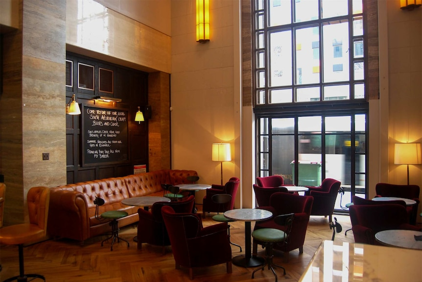 The original bank lobby was revitalised by the new tenants.