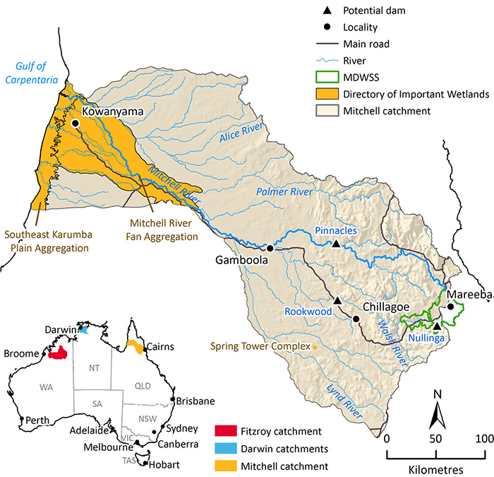 Graphic map showing location of proposed dams in Mitchell River catchment in far north Queensland