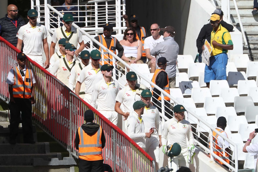 Tim Paine leads Test team out in Cape Town