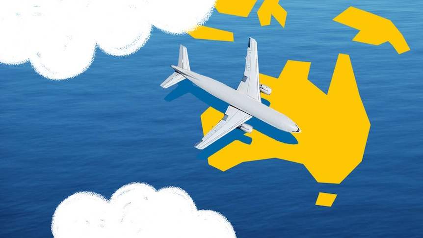 Animation of airplanes flying into Australia