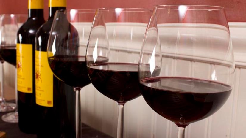 Wine glasses and wine bottles