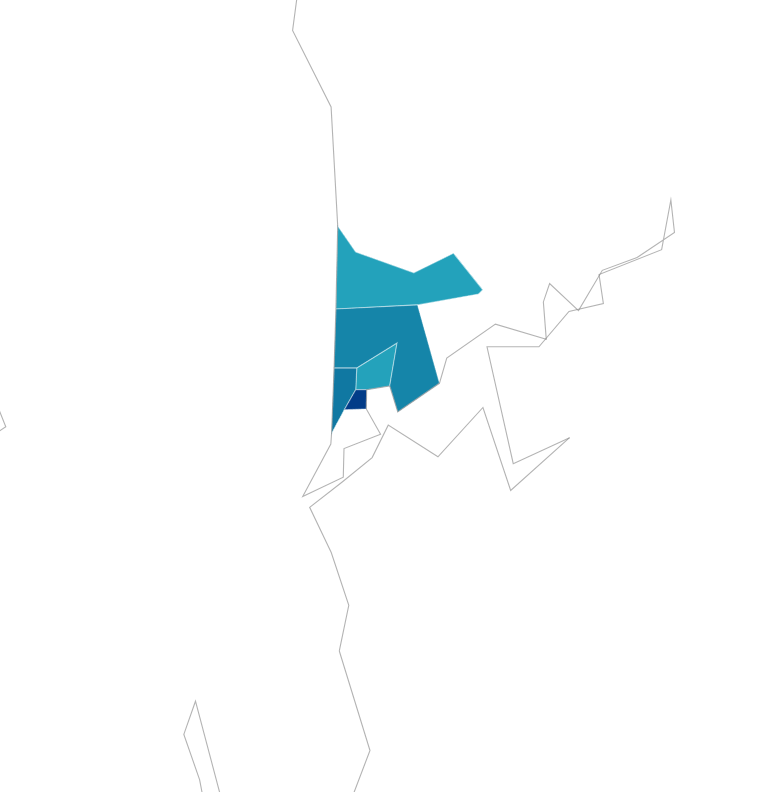 Map showing 5 top LGAs