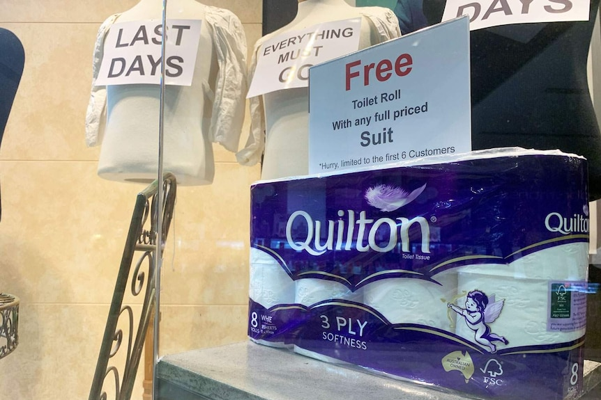 Free toilet paper offer when buying a suit at Jamie Warner's shop