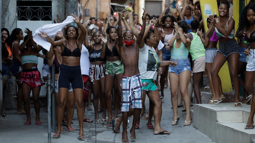 Youths protest in the favela
