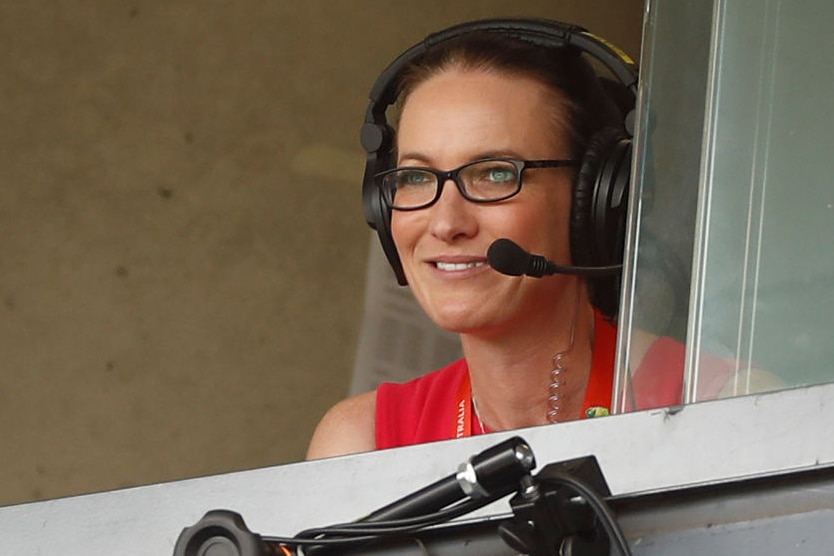 Alison Mitchell commentates during day three of the Third Test match in the series between Australia and New Zealand in 2020.