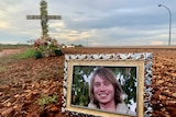 Image of a photograph of Josh Warneke placed in front of a memorial in Broome, Western Australia.