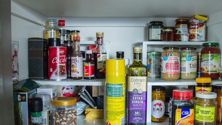 Food in a pantry.