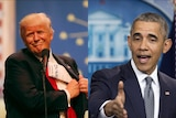 Side-by-side image of Barack Obama and Donald Trump