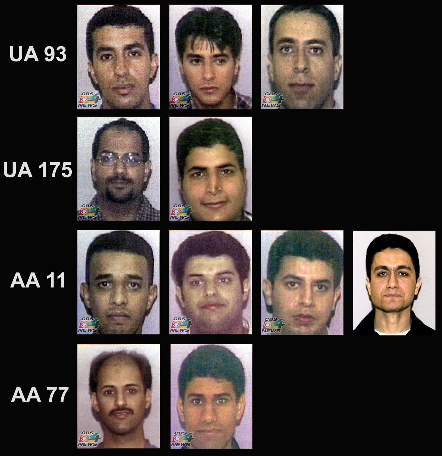 A photographic array of 11 of the 19 suspected hijackers responsible for the Sept 11 attacks